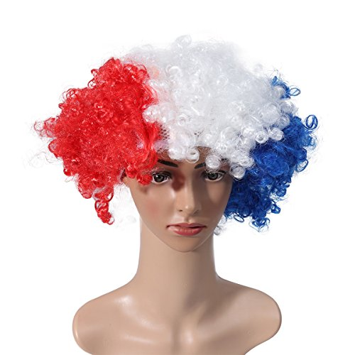LUOEM 2018 World Cup National Flag Wig Masquerade Party Clown Wig for Football Fans World Cup Carnival (France)