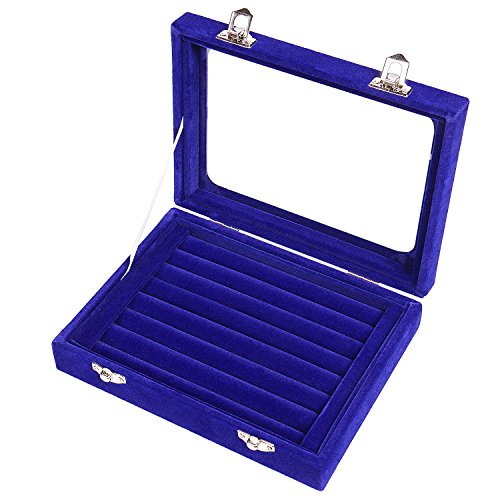 Pasutewel 7 Slots Velvet Glass Rings Earrings Jewellery Display Stand Storage Box Holder Organiser Tray Case - Blue ()