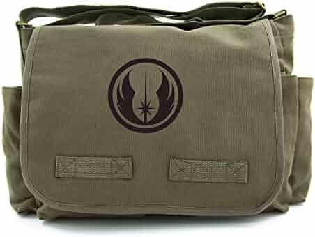 d34de30414 Jedi Order Logo Army Heavyweight Canvas Messenger Shoulder Bag in Olive    Black