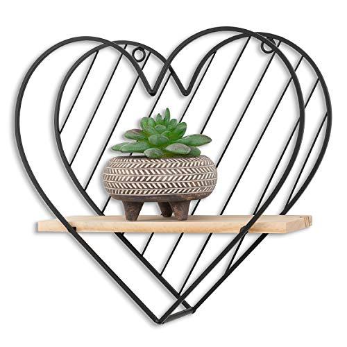 SOPRETY Wandregal Herz, Schweberegal aus Metall und Holz Ablage, Dekoregal Hängeregal ideal für Bad Küche Wohnzimmer Schalfzimmer Büro Flur (30cm Herz)