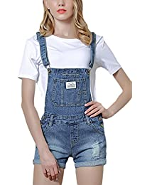 Fanvans Women Casual Denim Overalls Shorts Distresse Cuffed Jumpsuit with Pockets