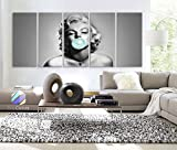 Original by BoxColors XLARGE 30''x 70'' 5 Panels Art canvas Marilyn Monroe Blue Chewing Gum Black & White Wall decor home Office ( framed 1.5'' depth)