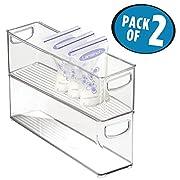 mDesign Baby Food Storage Organizer Bin for Pouches, Breast Milk, Jar - Pack of 2, 16  x 4  x 5 , Clear