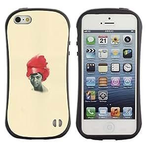 LASTONE PHONE CASE / Suave Silicona Caso Carcasa de Caucho Funda para Apple Iphone 5 / 5S / African American Woman Black Red Hair Art