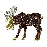 Moose Elk Deer Winter Christmas Wildlife Handmade with Swarovski Crystals NEW Vintage Inspired Large Gift Brooch Pin P3265