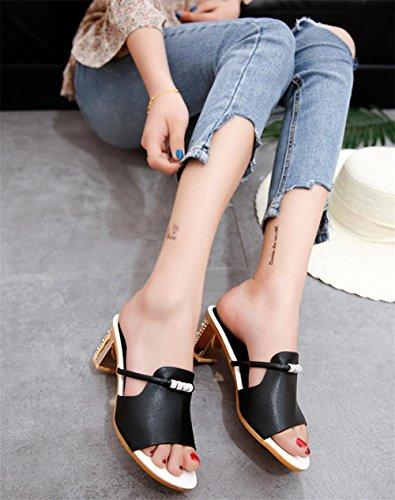 Signore Fresche Black Di Con Pengweile Pantofole Sandali Estiva Moda vFqawnP