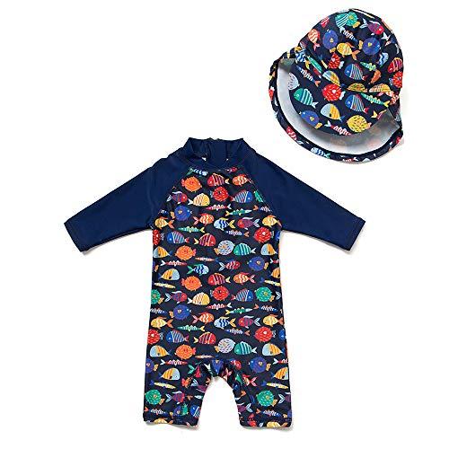 upandfast Baby 1/2 Sleeve Bathing Suit Infant One-Piece Rashguard (Colorful Fish,18-24 Months)