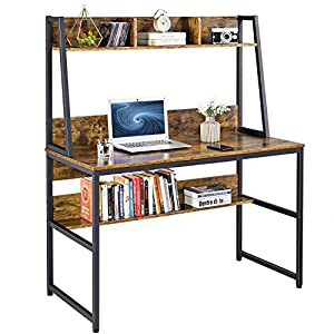 YAHEETECH 47 inch Computer Desk with Hutch and Bookshelf, Home Office Modern Writing Desk with Bookshelf, PC Laptop…
