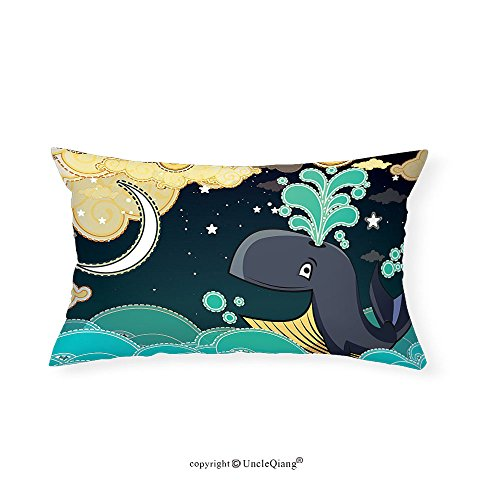 VROSELV Custom pillowcasesDolphin Decor Stars Special Edition Art Prints Home Decoration Collection House Ideas Fabric Turquoise Teal Yellow Ivory(16''x24'') by VROSELV