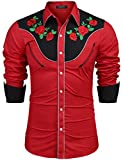 COOFANDY Men's Stylish Casual Rose Floral Embroidered Western Long Sleeve Button Shirt(Red,L)