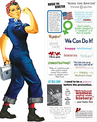 Rosie the Riveter Quotable Notable - Die Cut Silhouette Greeting Card and Sticker Sheet