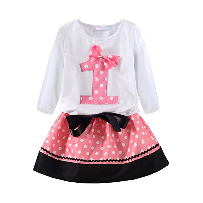 Mud Kingdom First Birthday Outfit Girl Cute 1 Long Sleeve Pink