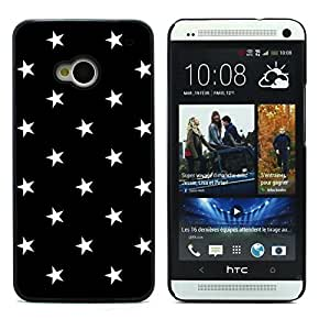 Graphic4You Stars Pattern Design Hard Case Cover for HTC One (M7) (Black)