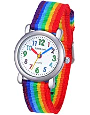 Kinder Analoge Uhr, Leicht zu Lesen Kinder Erste Uhr Täglich Wasserdicht Armbanduhr für Jungen und Mädchen mit Weichem Nylonband
