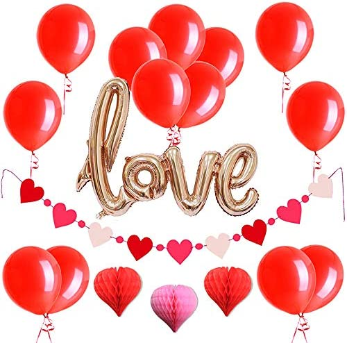 Easy Joy 母の日/バレンタイン/ウェディング飾り付けセット アルミバルーン ハート型ガーランド ハニカムボール 結婚式 記念日 パーティーデコレーション 写真背景