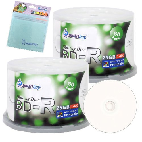 Smartbuy 100-disc 25GB 6x BD-R Blu-Ray White Inkjet Hub Printable Blank Media Disc + Free Micro Fiber Cloth by Smartbuy
