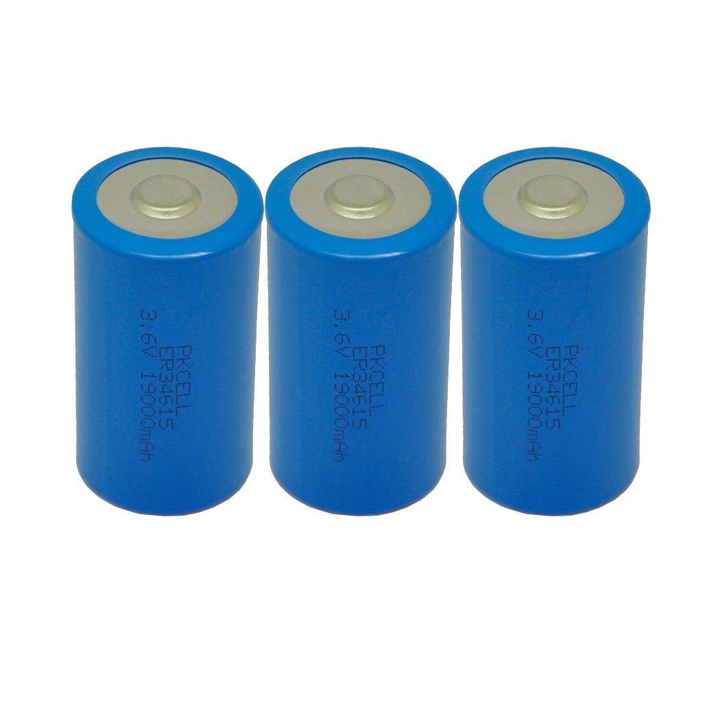3.6V Lithium/SOCL2 Batteries c size model ER26500 d size battery model ER 34615 Count:3Pcs (ER34615)