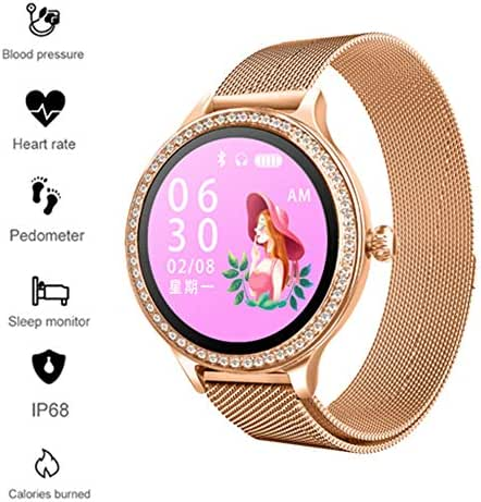 Businda Female Physiological Reminder Watches, Bracelet Steel Belt IP68 Waterproof Smart Watch Heart Rate Blood Pressure Monitor Sleep Monitoring for Girl,Woman,Mother (Gold01)