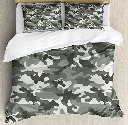 (Ambesonne Camouflage Duvet Cover Set Queen Size, Monochrome Attire Pattern Camouflage Inside Vegetation Fashion Design Print, Decorative 3 Piece Bedding Set with 2 Pillow Shams, Grey Coconut)