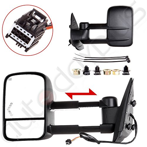 Scitoo Towing Mirrors Power Arrow Led Signal Light Heated For 07-13 Chevy/GMC Silverado/Sierra Truck Side Mirror Pair(Just 07 NEW Body Style)