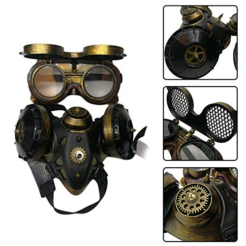 (Volwco Steampunk Gas Mask, Premium Halloween Punk Goggles Retro Cosplay Costume Props Fancy Dress Masquerade Respirator)
