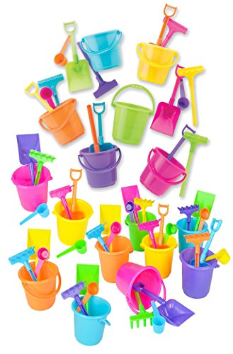 (4E's Novelty Beach Sand Toys Set, Pails Buckets Shovels Rakes and Scoops, Assorted Colors, Great for Mermaid or Birthday Theme Beach Toys for Kids Boys Girls )