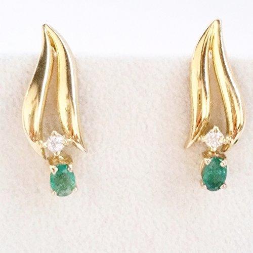 Boucles d'oreilles pendantes Or 18cts 750avec émeraude 1.60ct et diamants 0.10ct