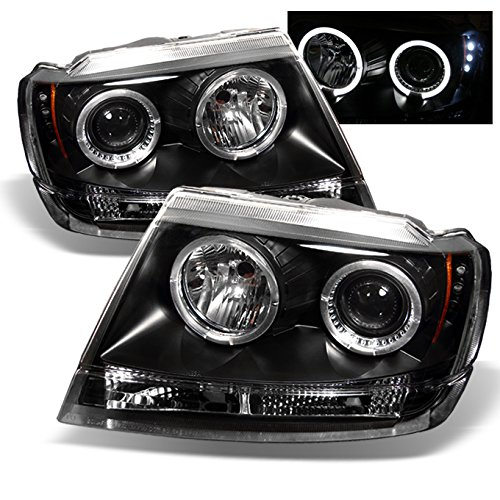 For Jeep Grand Cherokee Black Bezel Dual Halo Ring Projector LED Headlights Head Lamps Replacement Pair