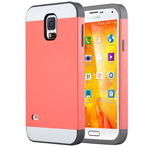Galaxy S5 Case, ULAK Knox Armor Hybrid Dual Layer Slim Shockproof Protective Cover for Samsung Galaxy S5 / Galaxy SV / Galaxy S V / Galaxy i9600 2014 Hard PC Shell and Flexible TPU Coral Pink/Gray (Samsung Galaxy S5 Covers compare prices)