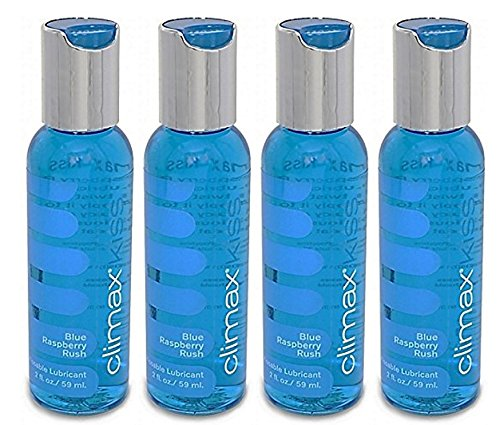 Climax Kiss BLUE RASPBERRY Rush Flavored Lubricant Kissable Lubricant : Size 2 Oz. / 59 Ml.