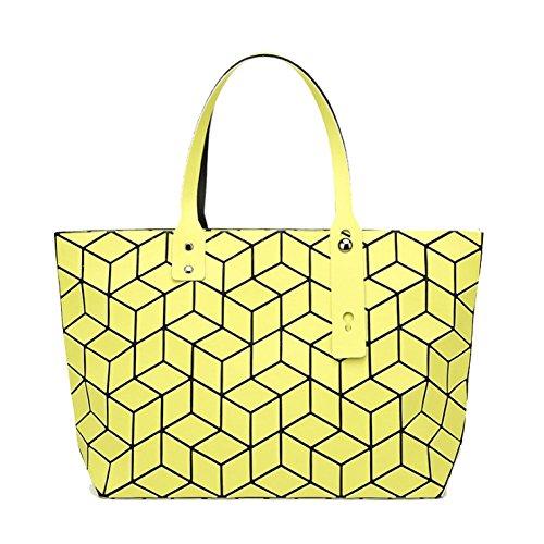 AJLBT Estilo Japonés Diamante Bolsa Geométrica Costura De Cubo Bolso De Mujer Charol Superficie Brillante Bolso Crosssectionyellow