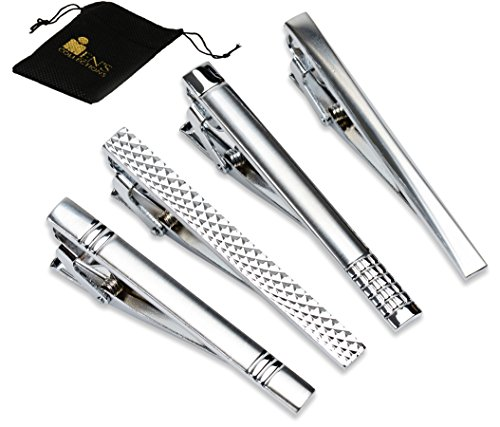 Set+of+4+Tie+Clips+%28Silver%29