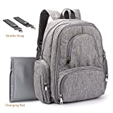 Upgraded Version Baby Diaper Bag MoAnBee Smart Organizer Waterproof Travel Backpack Multifunction Nappy Bag with Changing Pad and Stroller Clips, Gray