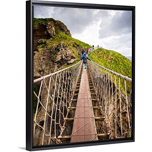 Carrick-a-Rede Rope Bridge, County Antrim, Northern Ireland Black Floating Frame Canvas Art, 20. (Carrick A Rede Rope Bridge County Antrim)