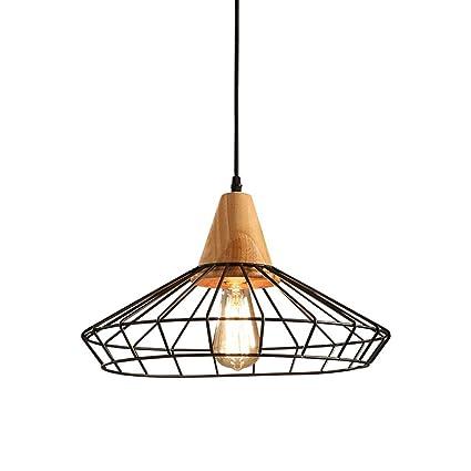 LOFAMI Lámpara de estilo nórdico de hierro estilo industrial negro, diseño creativo Birdcage sombra de diseño, sala de estar de la cocina barra de ...