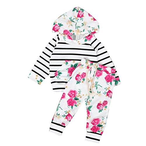 Longra Bébé Encapuchonné Vêtements Floral Rayé Hauts + Pantalons
