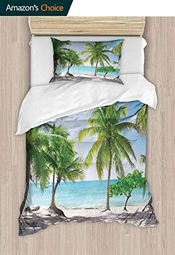 (Temox Beach Cotton Bedding Sets, Palm Leaves in Catalina Island Dominic Seashore Coastal Panoramic Picture, Kids Bedding-Does Not Shrink or Wrinkle,47 W x 59 L Inches, Green Aqua Coconut)