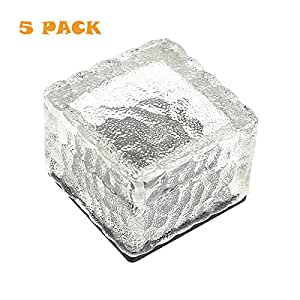 KingYuan Solar Power 4 LED Light Outdoor Waterproof Ground Crystal Glass Ice Brick Lawn Yard Deck Road Path Garden Decoration Security Lamp 5PCS & White
