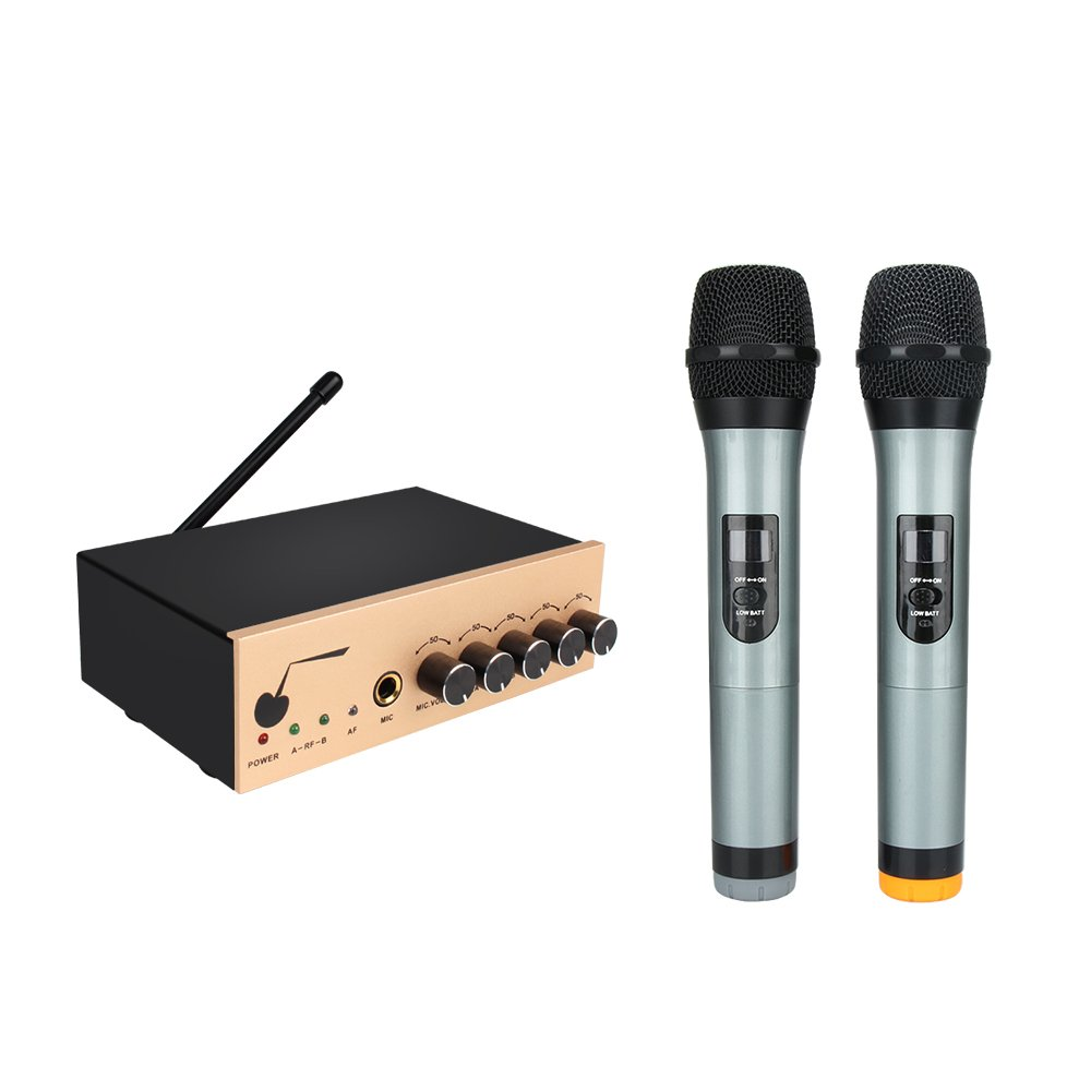ARCHEER VHF Bluetooth Wireless Microphone System Dual Channel Handheld Karaoke Microphone Singing Machine DJ Mixer for Smart Phone /iPad /PC/TV/Tablet and Other Bluetooth-enable Devices - Gold