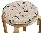 Black Temptation Round Stool Cushion Warm Sponge Pad Bar Stool Mat Cartoon Pattern