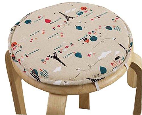 Black Temptation Round Stool Cushion Warm Sponge Pad Bar Stool Mat Cartoon Pattern by Black Temptation