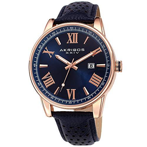 Akribos XXIV Leather Men's Watch – Classic Round Roman Numeral Sunburst Dial, Perforated Matt Genuine Leather Blue Strap, Japanese Quartz -AK1048RGBU (Brown Roman Dial)