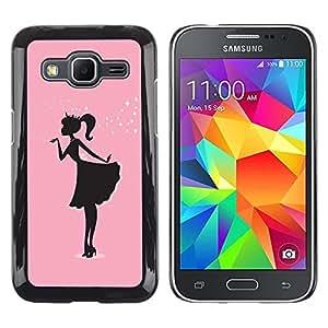 Caucho caso de Shell duro de la cubierta de accesorios de protección BY RAYDREAMMM - Samsung Galaxy Core Prime SM-G360 - Pink Dress Black Minimalist Sparkle