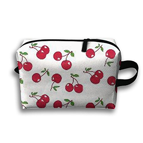 Red Cherry Travel Bag Cosmetic Bags Brush Pouch Portable Makeup Bag Zipper Wallet Hangbag Pen Organizer Carry Case Wristlet - Open Cherry Hill Mall