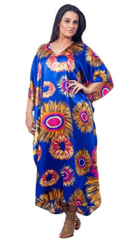 Up2date Fashion Satin Caftans in Abstract Sunflower Print, Style Caf-87