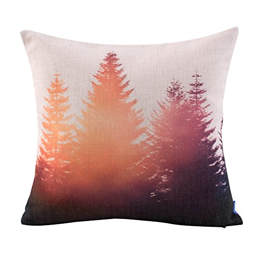 JES&MEDIS Forest Scenery Series Cotton Linen Decorative Square Throw Pillow Covers Cushion Case for Home Sofa Bedroom Office Car 18 X 18 Inch 45 X 45 cm
