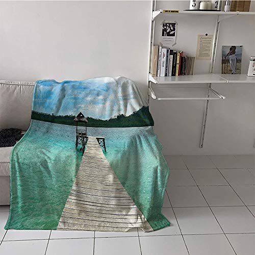 Khaki home Children's Blanket Throw Plush Throw Blanket (70 by 90 Inch,House Decor Collection,Wooden Deck in Indonesian Island with Fresh Sky and Sea Forest Exotic Dream Land View,Turquoise Brown (Dreamland King Size Electric Blanket Dual Control)