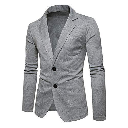 Manteau Slim Casual D'extérieur Blazer Formal Business Automne Costume Essentiel Fit Printemps Grau Vêtements Veste Deux Boutons OwY1q01