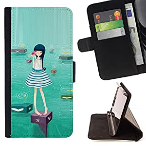 DEVIL CASE - FOR HTC Desire 820 - Cute Water Girl - Style PU Leather Case Wallet Flip Stand Flap Closure Cover
