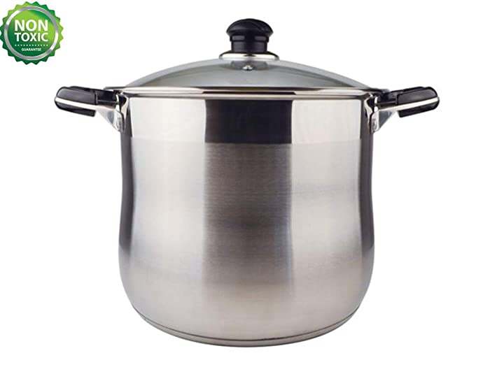 20 Quart Commercial Grade Stainless Steel High Stockpot/Non-Toxic Cookware/Dishwasher Safe Heavy-Duty [Encapsulated Bottom For Efficient Heat Distribution]